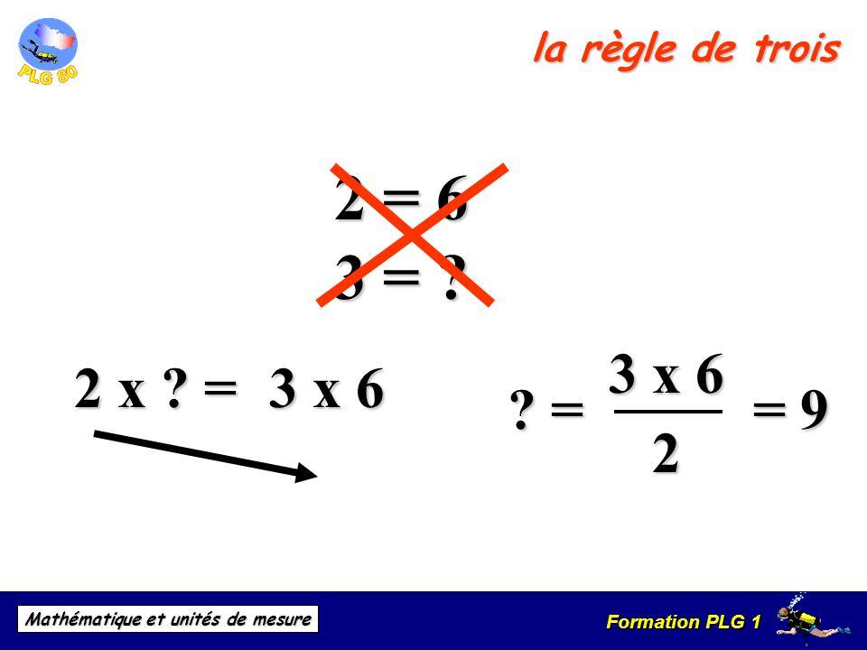 Formation PLG 1 Mathématique et unités de mesure la règle de trois 2 x ? = 2 = 6 ? = 3 = ? 3 x 6 2 = 9