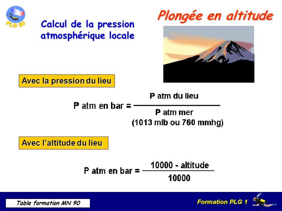 Formation PLG 1 Table formation MN 90 Plongée en altitude Calcul de la pression atmosphérique locale Avec la pression du lieu Avec laltitude du lieu