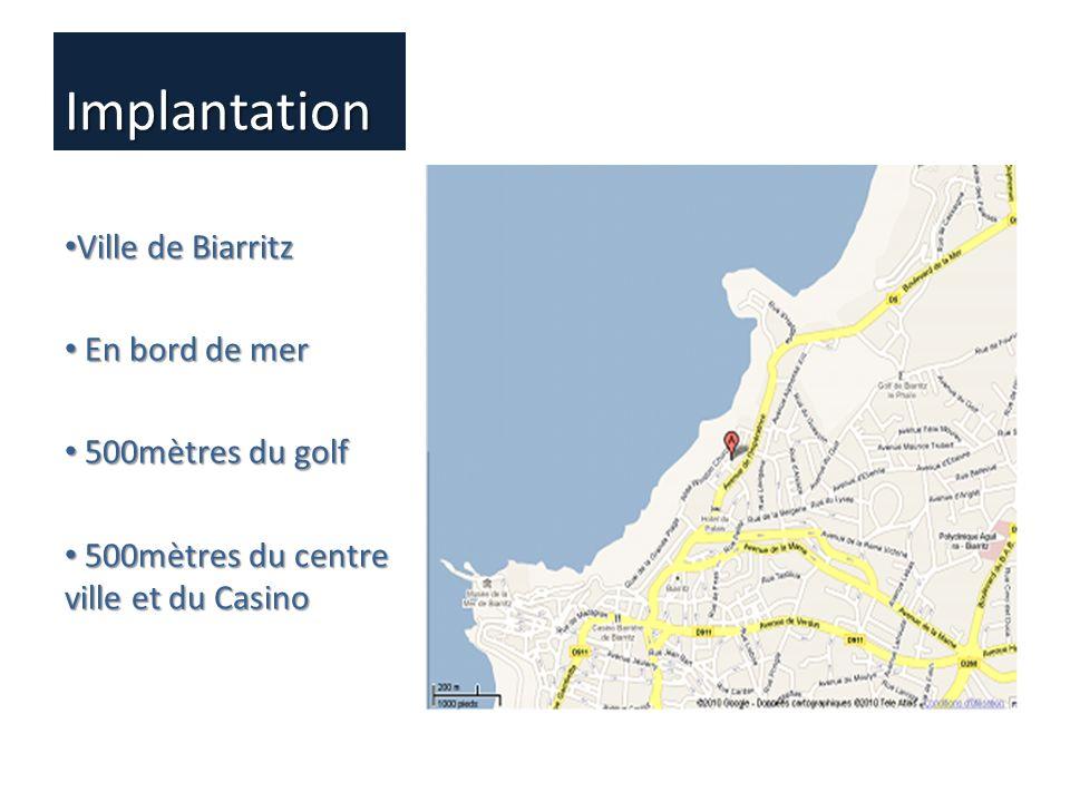 Implantation Ville de Biarritz Ville de Biarritz En bord de mer En bord de mer 500mètres du golf 500mètres du golf 500mètres du centre ville et du Cas