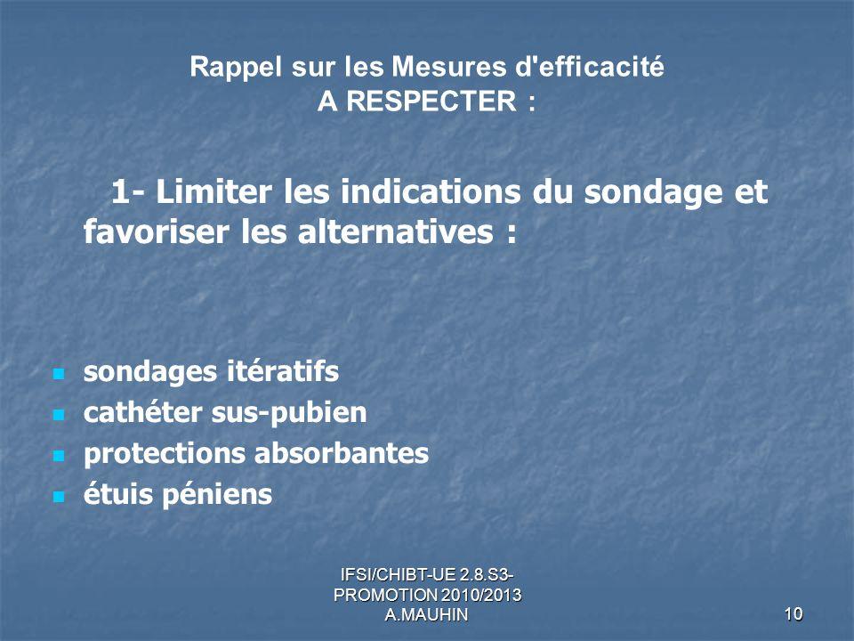 IFSI/CHIBT-UE 2.8.S3- PROMOTION 2010/2013 A.MAUHIN10 Rappel sur les Mesures d'efficacité A RESPECTER : 1- Limiter les indications du sondage et favori
