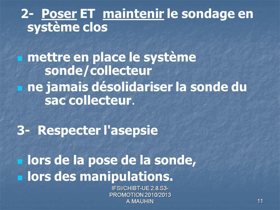 IFSI/CHIBT-UE 2.8.S3- PROMOTION 2010/2013 A.MAUHIN11 2- Poser ET maintenir le sondage en système clos mettre en place le système sonde/collecteur ne j
