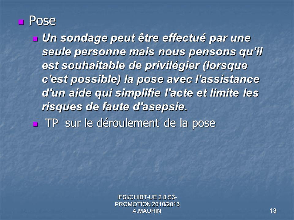 IFSI/CHIBT-UE 2.8.S3- PROMOTION 2010/2013 A.MAUHIN13 Pose Pose Un sondage peut être effectué par une seule personne mais nous pensons quil est souhait