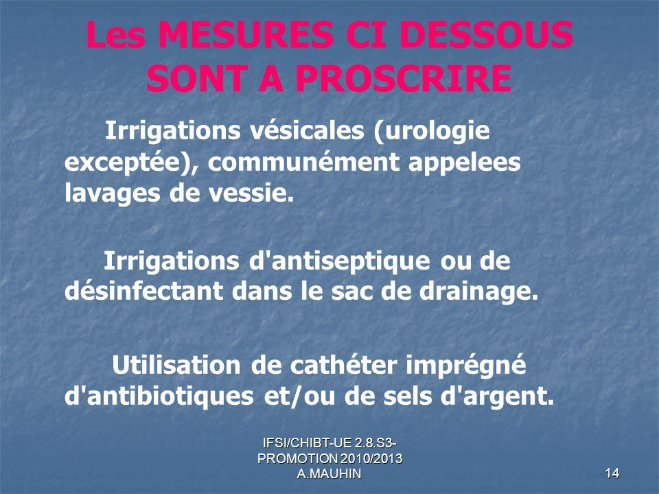 IFSI/CHIBT-UE 2.8.S3- PROMOTION 2010/2013 A.MAUHIN14 Les MESURES CI DESSOUS SONT A PROSCRIRE Irrigations vésicales (urologie exceptée), communément ap