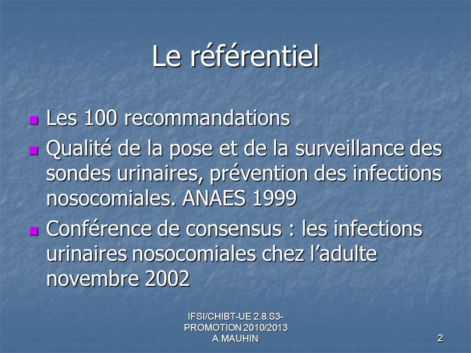 IFSI/CHIBT-UE 2.8.S3- PROMOTION 2010/2013 A.MAUHIN2 Le référentiel Les 100 recommandations Les 100 recommandations Qualité de la pose et de la surveil