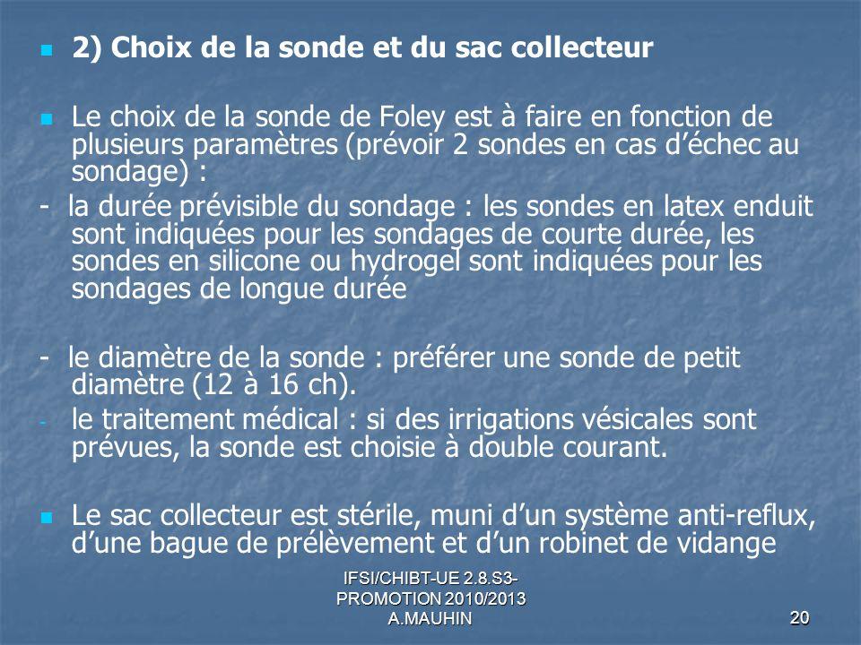 IFSI/CHIBT-UE 2.8.S3- PROMOTION 2010/2013 A.MAUHIN20 2) Choix de la sonde et du sac collecteur Le choix de la sonde de Foley est à faire en fonction d