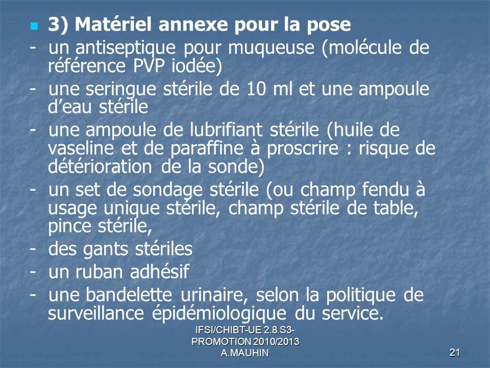 IFSI/CHIBT-UE 2.8.S3- PROMOTION 2010/2013 A.MAUHIN21 3) Matériel annexe pour la pose - un antiseptique pour muqueuse (molécule de référence PVP iodée)