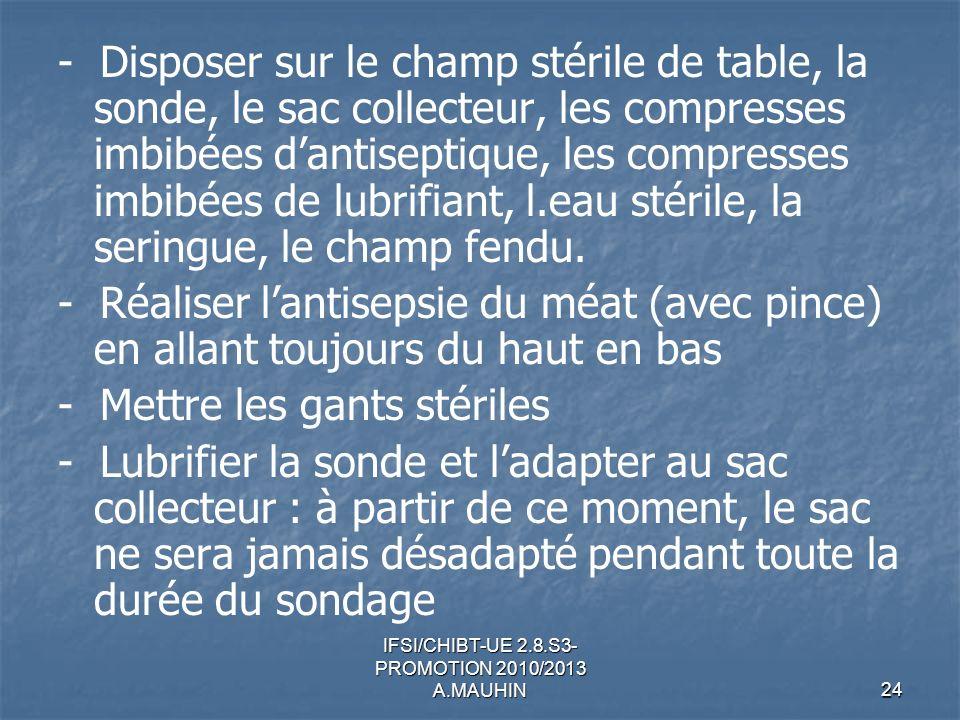 IFSI/CHIBT-UE 2.8.S3- PROMOTION 2010/2013 A.MAUHIN24 - Disposer sur le champ stérile de table, la sonde, le sac collecteur, les compresses imbibées da