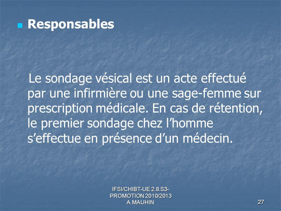 IFSI/CHIBT-UE 2.8.S3- PROMOTION 2010/2013 A.MAUHIN27 Responsables Le sondage vésical est un acte effectué par une infirmière ou une sage-femme sur pre