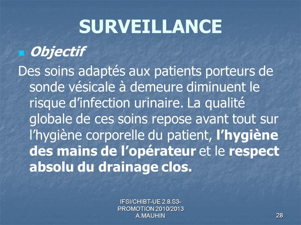 IFSI/CHIBT-UE 2.8.S3- PROMOTION 2010/2013 A.MAUHIN28 SURVEILLANCE Objectif Des soins adaptés aux patients porteurs de sonde vésicale à demeure diminue