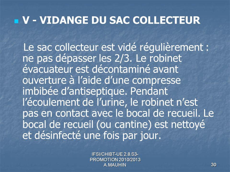 IFSI/CHIBT-UE 2.8.S3- PROMOTION 2010/2013 A.MAUHIN30 V - VIDANGE DU SAC COLLECTEUR Le sac collecteur est vidé régulièrement : ne pas dépasser les 2/3.