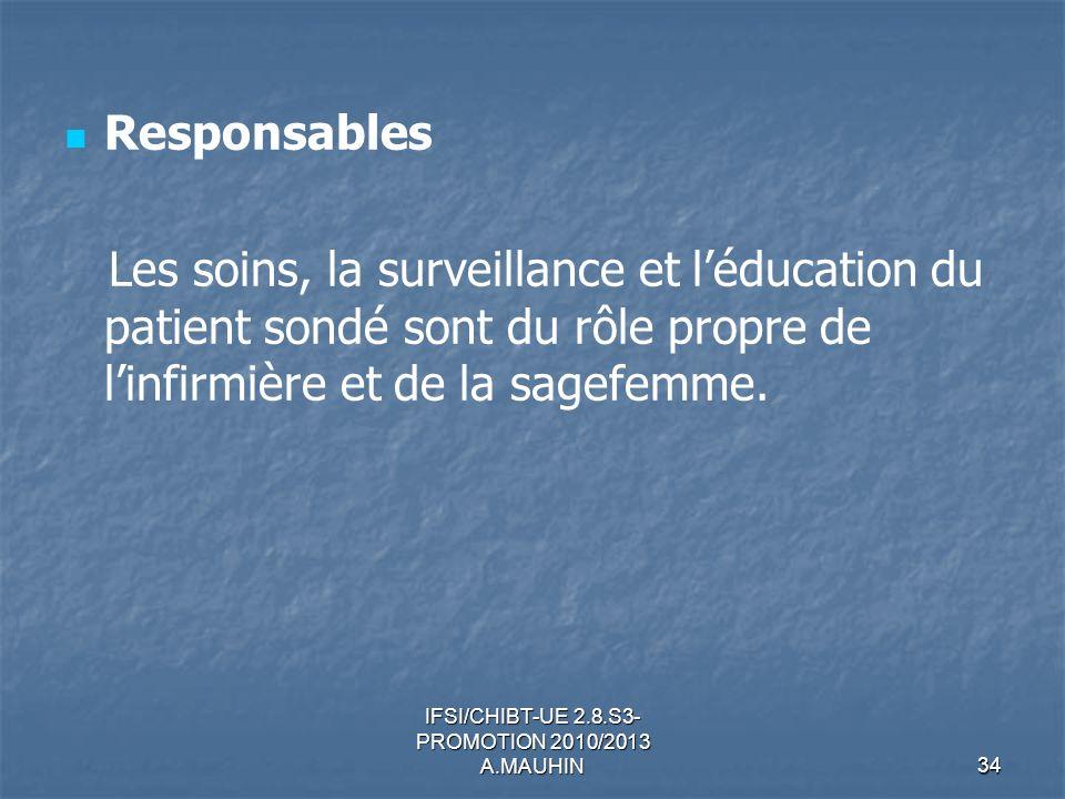IFSI/CHIBT-UE 2.8.S3- PROMOTION 2010/2013 A.MAUHIN34 Responsables Les soins, la surveillance et léducation du patient sondé sont du rôle propre de lin