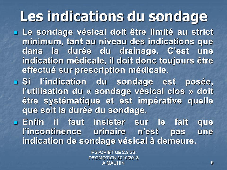 IFSI/CHIBT-UE 2.8.S3- PROMOTION 2010/2013 A.MAUHIN9 Les indications du sondage Le sondage vésical doit être limité au strict minimum, tant au niveau d