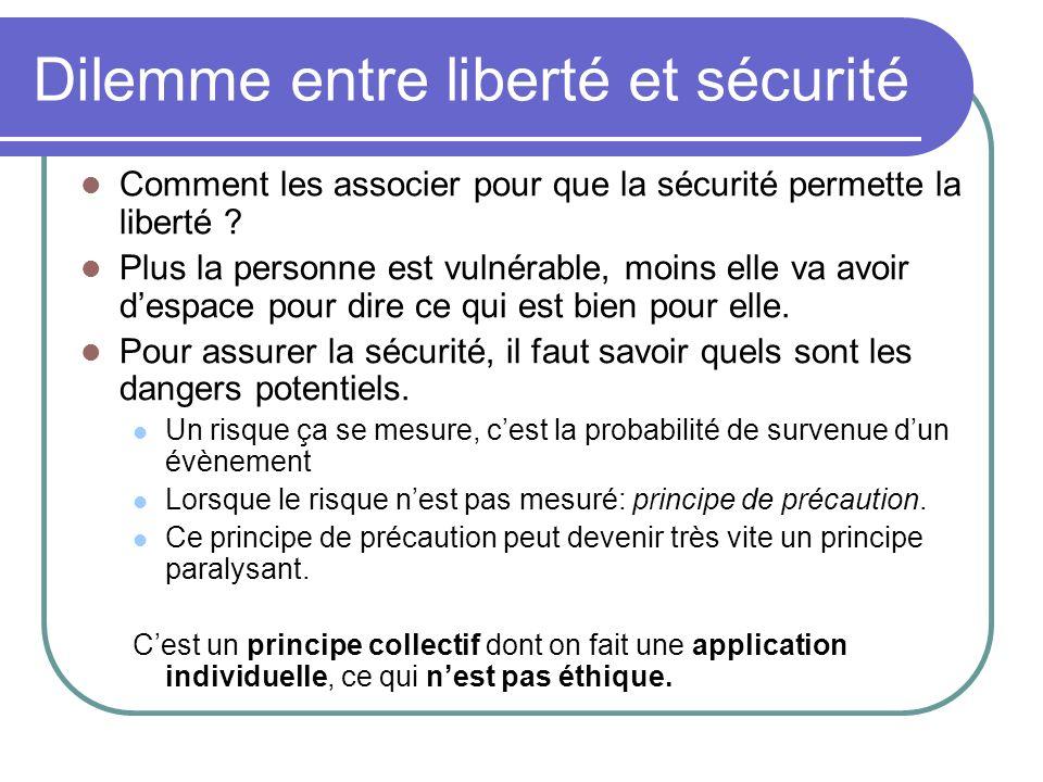 Dilemme entre liberté et sécurité Comment les associer pour que la sécurité permette la liberté ? Plus la personne est vulnérable, moins elle va avoir