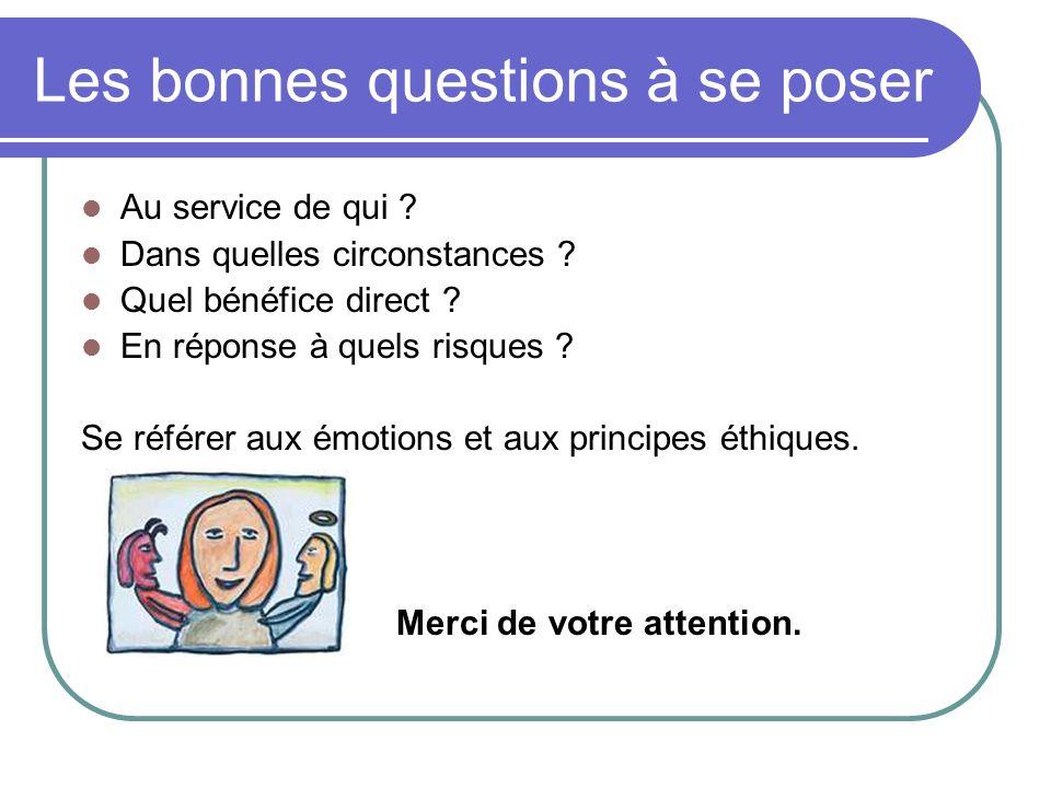 Les bonnes questions à se poser Au service de qui ? Dans quelles circonstances ? Quel bénéfice direct ? En réponse à quels risques ? Se référer aux ém