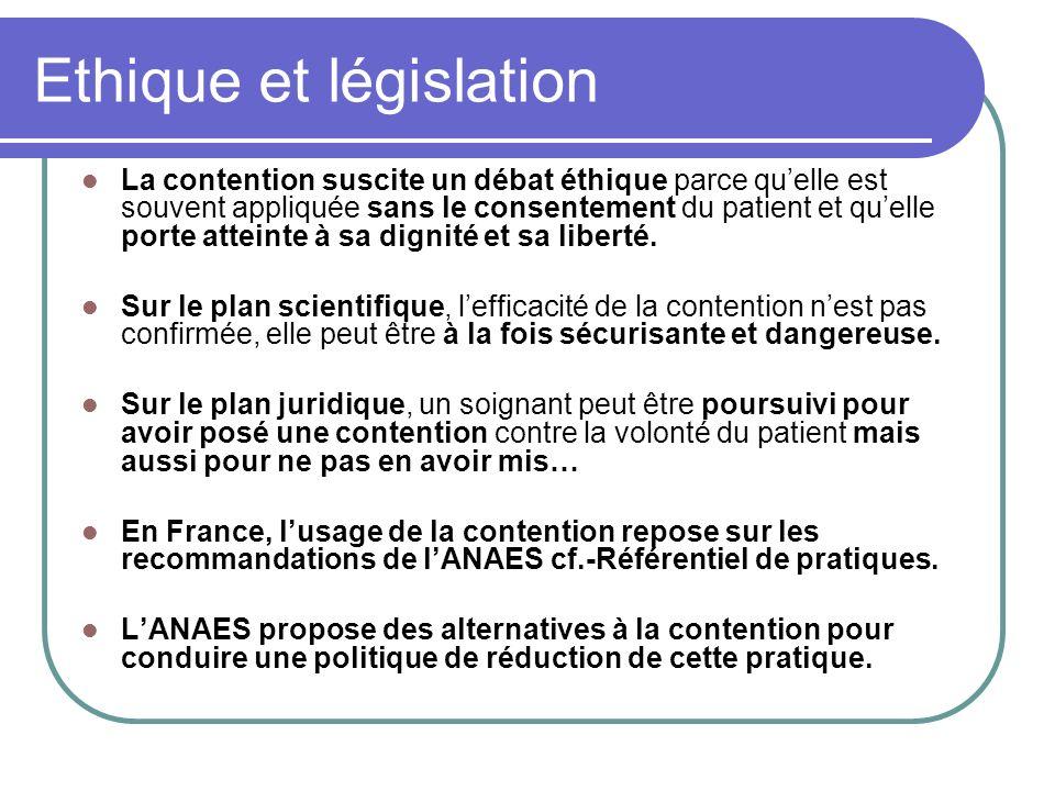 Ethique et législation La contention suscite un débat éthique parce quelle est souvent appliquée sans le consentement du patient et quelle porte attei