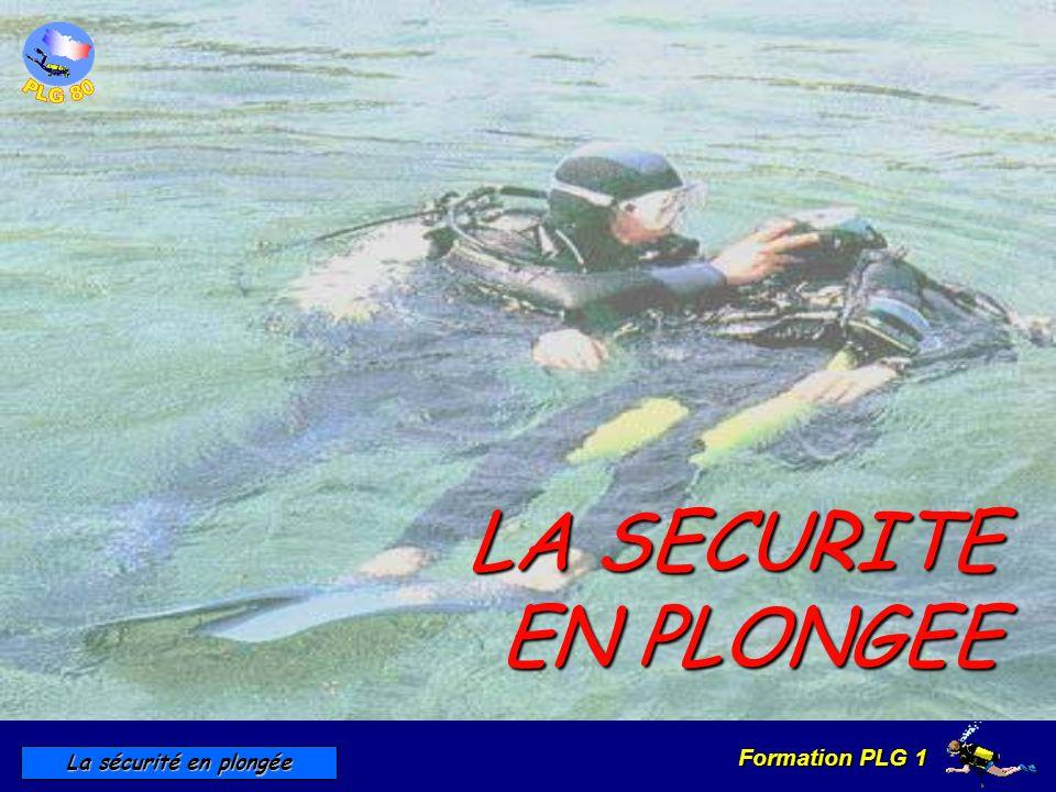 Formation PLG 1 La sécurité en plongée LA SECURITE EN PLONGEE