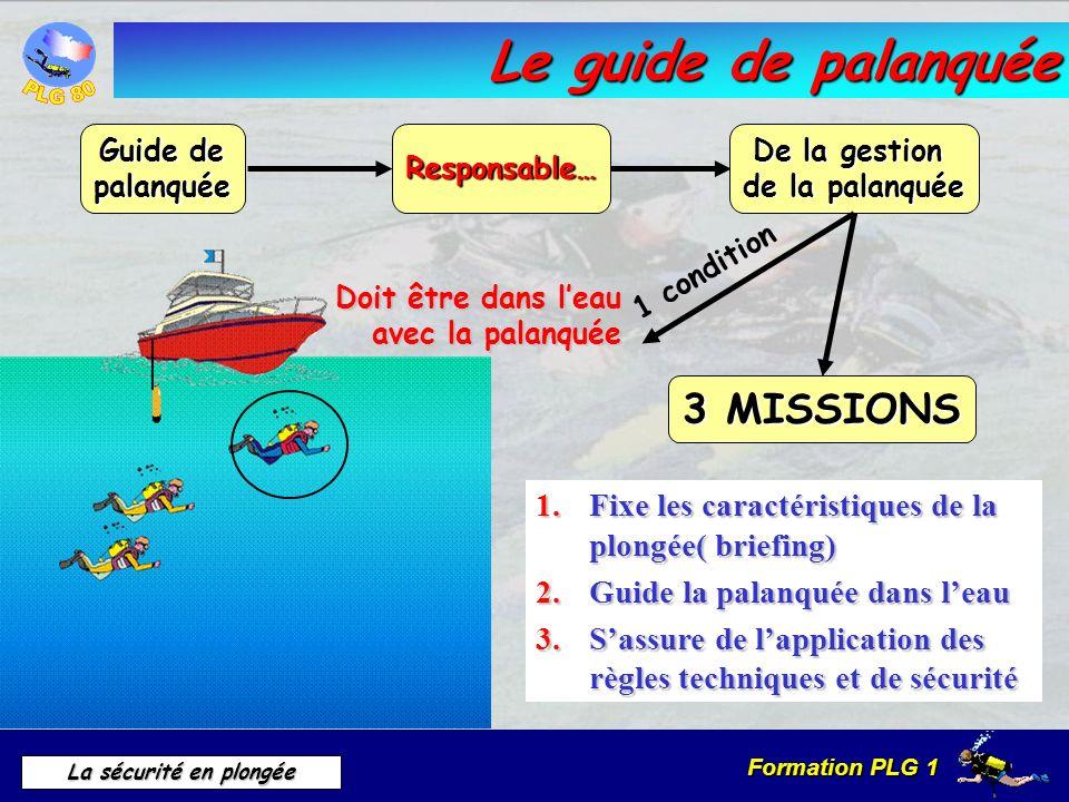 Formation PLG 1 La sécurité en plongée Le guide de palanquée Guide de palanquée 1.Fixe les caractéristiques de la plongée( briefing) 2.Guide la palanq