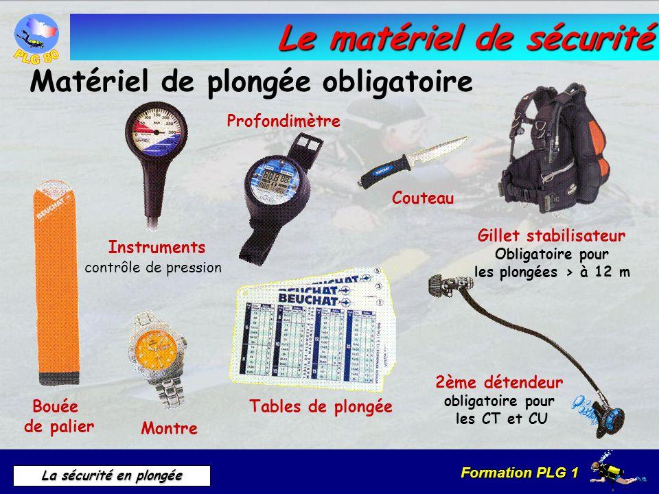 Formation PLG 1 La sécurité en plongée Le matériel de sécurité Matériel de plongée obligatoire 2ème détendeur obligatoire pour les CT et CU Couteau Ta