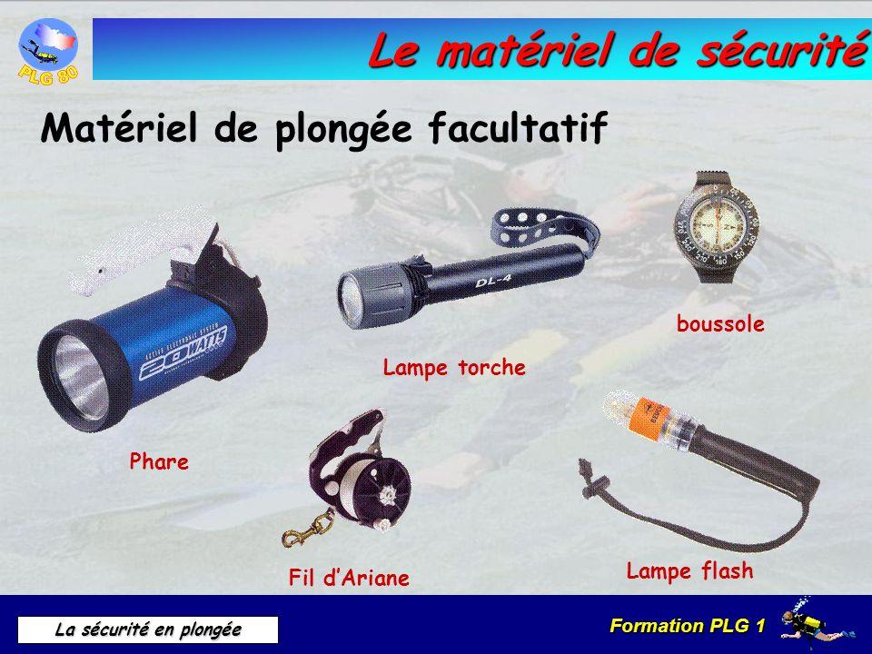 Formation PLG 1 La sécurité en plongée Le matériel de sécurité Matériel de plongée facultatif Lampe flash Phare Lampe torche boussole Fil dAriane