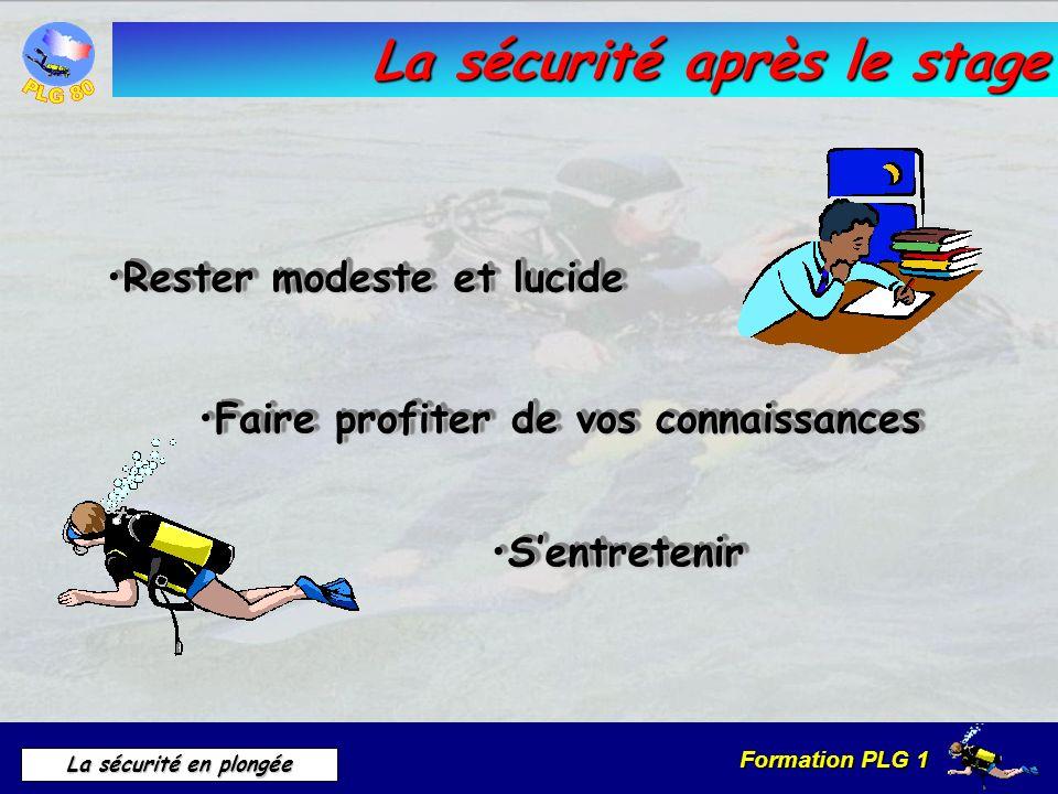 Formation PLG 1 La sécurité en plongée La sécurité après le stage Rester modeste et lucideRester modeste et lucide Faire profiter de vos connaissances