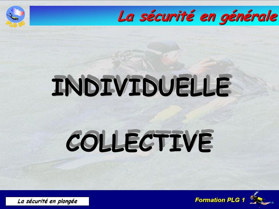 Formation PLG 1 La sécurité en plongée La sécurité en générale INDIVIDUELLEINDIVIDUELLE COLLECTIVE