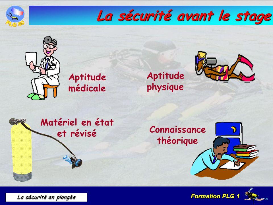 Formation PLG 1 La sécurité en plongée La sécurité avant le stage Aptitude médicale Aptitude physique Connaissance théorique Matériel en état et révis