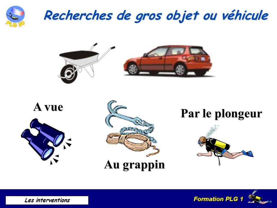 Formation PLG 1 Les interventions A vue Au grappin Par le plongeur Recherches de gros objet ou véhicule