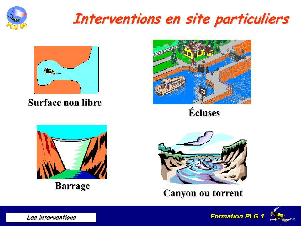 Formation PLG 1 Les interventions Interventions en site particuliers Surface non libre Barrage Canyon ou torrent Écluses