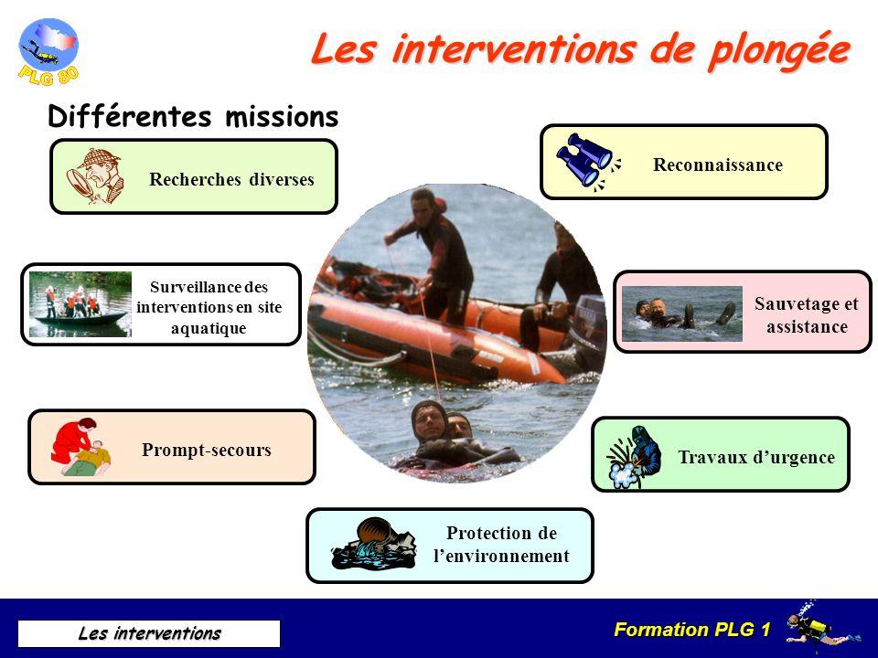 Formation PLG 1 Les interventions Les interventions de plongée Différentes missions Reconnaissance Sauvetage et assistance Travaux durgence Protection