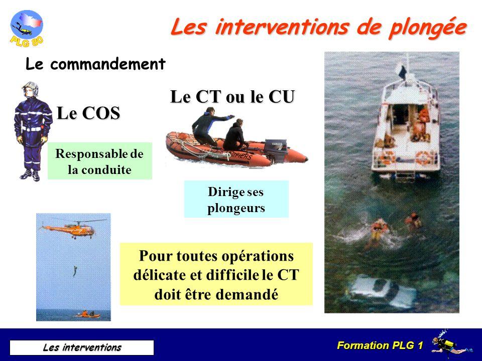 Formation PLG 1 Les interventions Les interventions de plongée Le commandement Responsable de la conduite Dirige ses plongeurs Pour toutes opérations