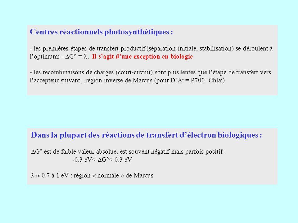 Centres réactionnels photosynthétiques : - les premières étapes de transfert productif (séparation initiale, stabilisation) se déroulent à loptimum: - G° =.