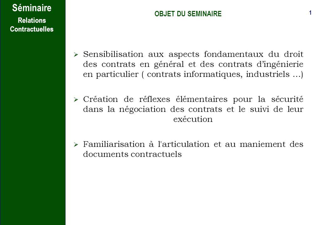Séminaire Jean-Yves Gontier Avocat au Barreau de Paris Nov/Déc 2007 Relations contractuelles
