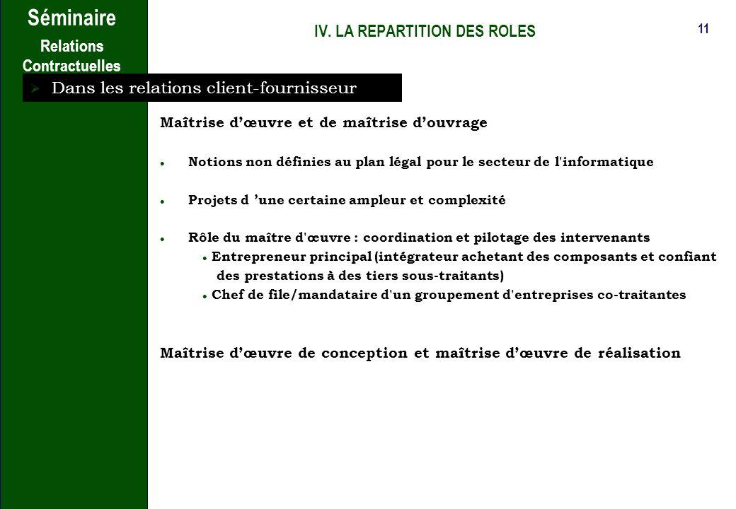 10 Séminaire Relations Contractuelles III. LES DIFFERENTS TYPES DE CONTRATS Le contrat de collaboration de recherche : - Pilotage conjoint dun program