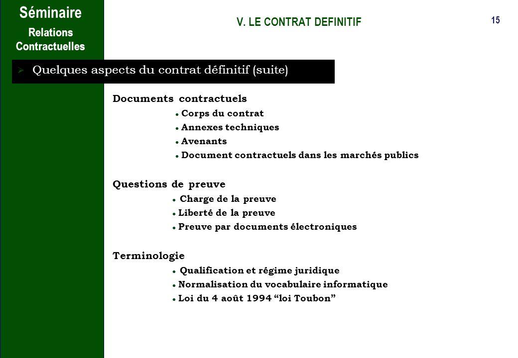 14 Séminaire Relations Contractuelles V. LE CONTRAT DEFINITIF Introduction : le principe de la liberté contractuelle Quelques aspects du contrat défin