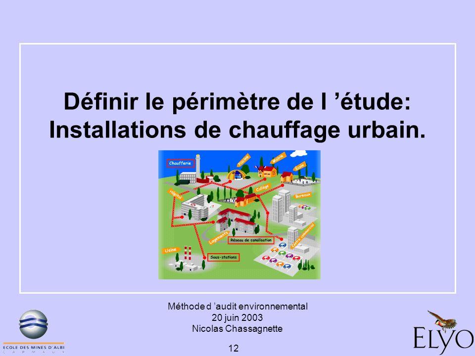 Méthode d audit environnemental 20 juin 2003 Nicolas Chassagnette 12 Définir le périmètre de l étude: Installations de chauffage urbain.
