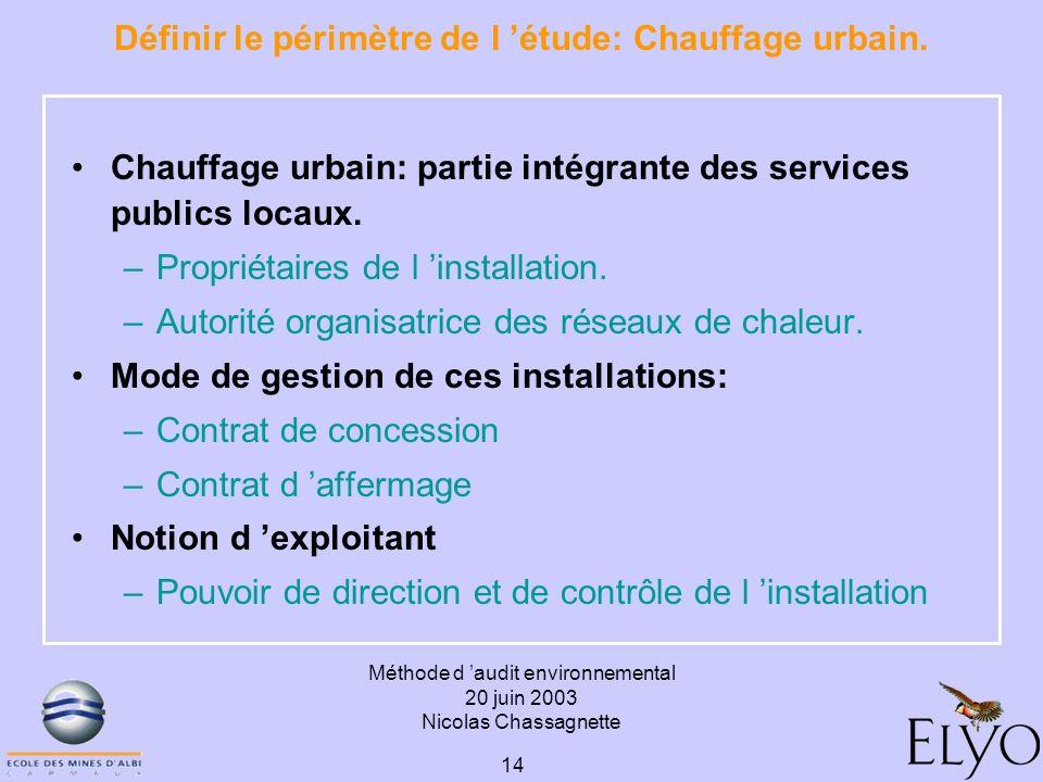 Méthode d audit environnemental 20 juin 2003 Nicolas Chassagnette 14 Définir le périmètre de l étude: Chauffage urbain. Chauffage urbain: partie intég