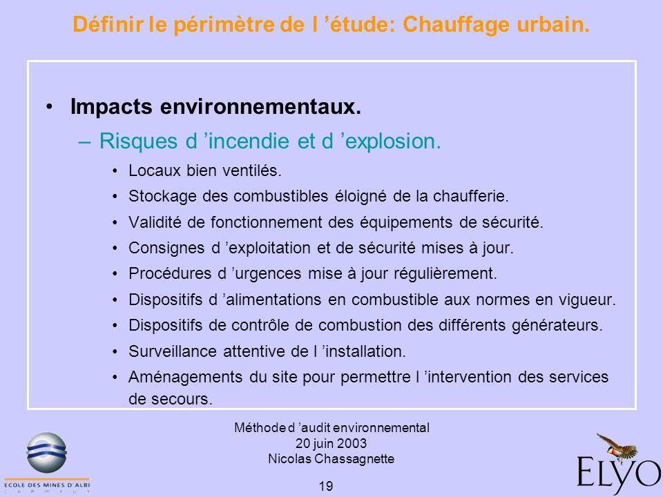 Méthode d audit environnemental 20 juin 2003 Nicolas Chassagnette 19 Définir le périmètre de l étude: Chauffage urbain. Impacts environnementaux. –Ris