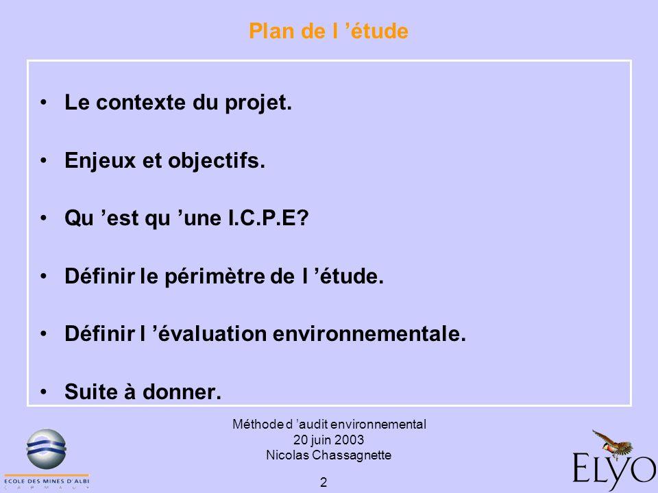 Méthode d audit environnemental 20 juin 2003 Nicolas Chassagnette 2 Plan de l étude Le contexte du projet. Enjeux et objectifs. Qu est qu une I.C.P.E?