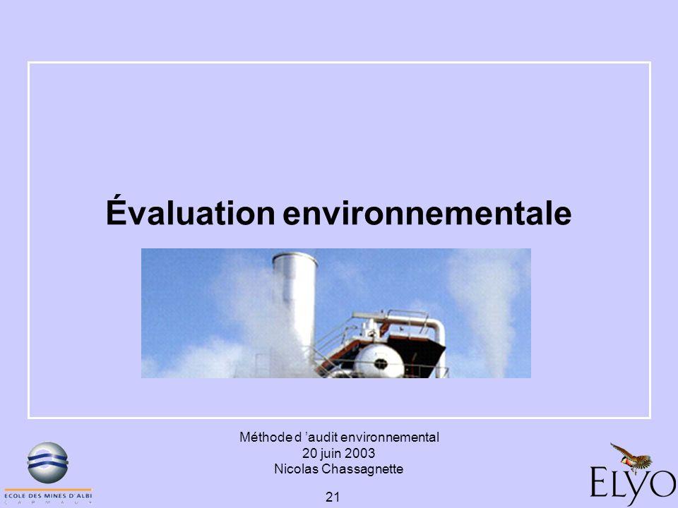Méthode d audit environnemental 20 juin 2003 Nicolas Chassagnette 21 Évaluation environnementale