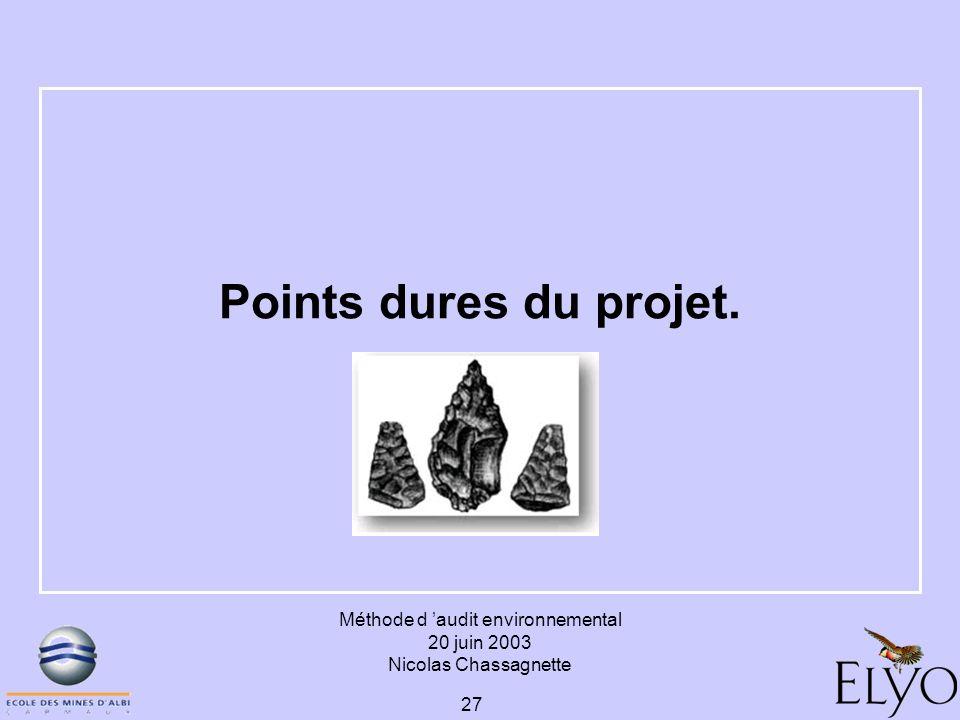 Méthode d audit environnemental 20 juin 2003 Nicolas Chassagnette 27 Points dures du projet.