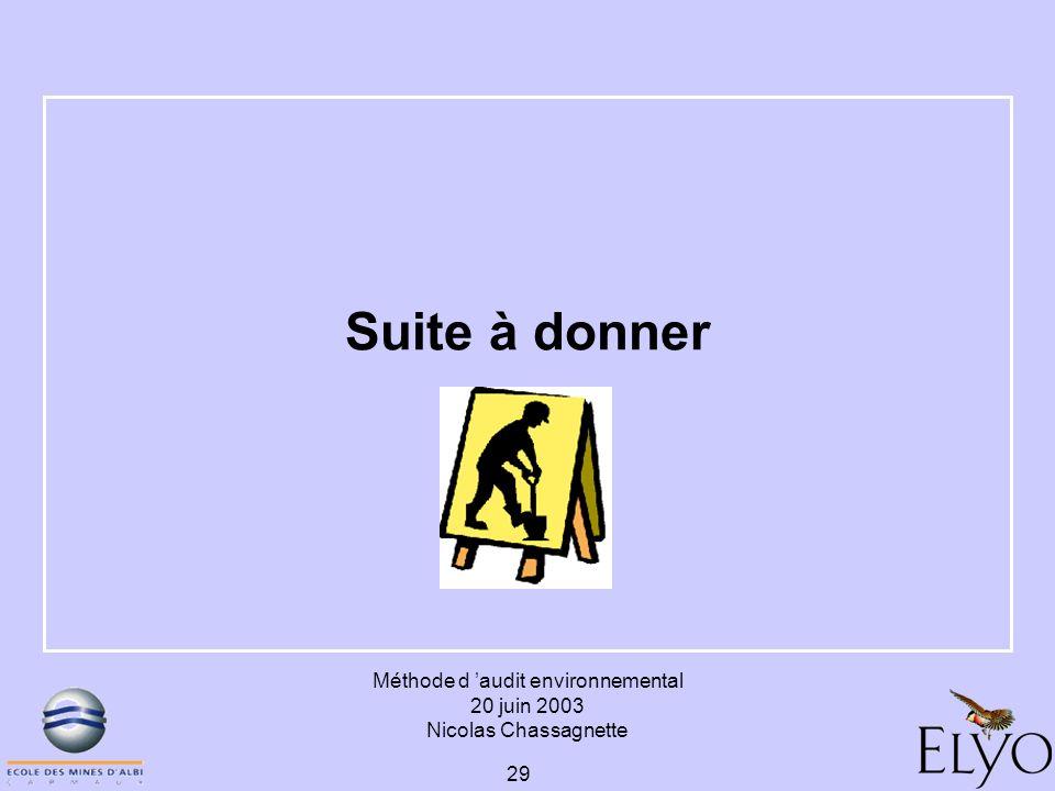 Méthode d audit environnemental 20 juin 2003 Nicolas Chassagnette 29 Suite à donner