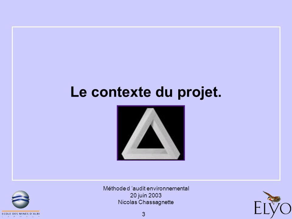 Méthode d audit environnemental 20 juin 2003 Nicolas Chassagnette 3 Le contexte du projet.
