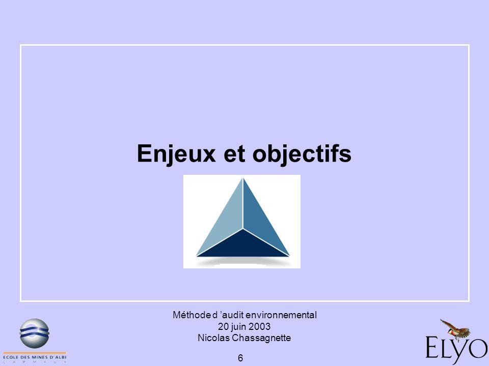 Méthode d audit environnemental 20 juin 2003 Nicolas Chassagnette 6 Enjeux et objectifs