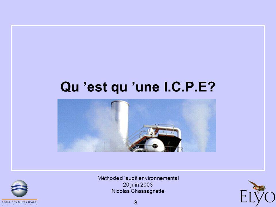 Méthode d audit environnemental 20 juin 2003 Nicolas Chassagnette 8 Qu est qu une I.C.P.E?