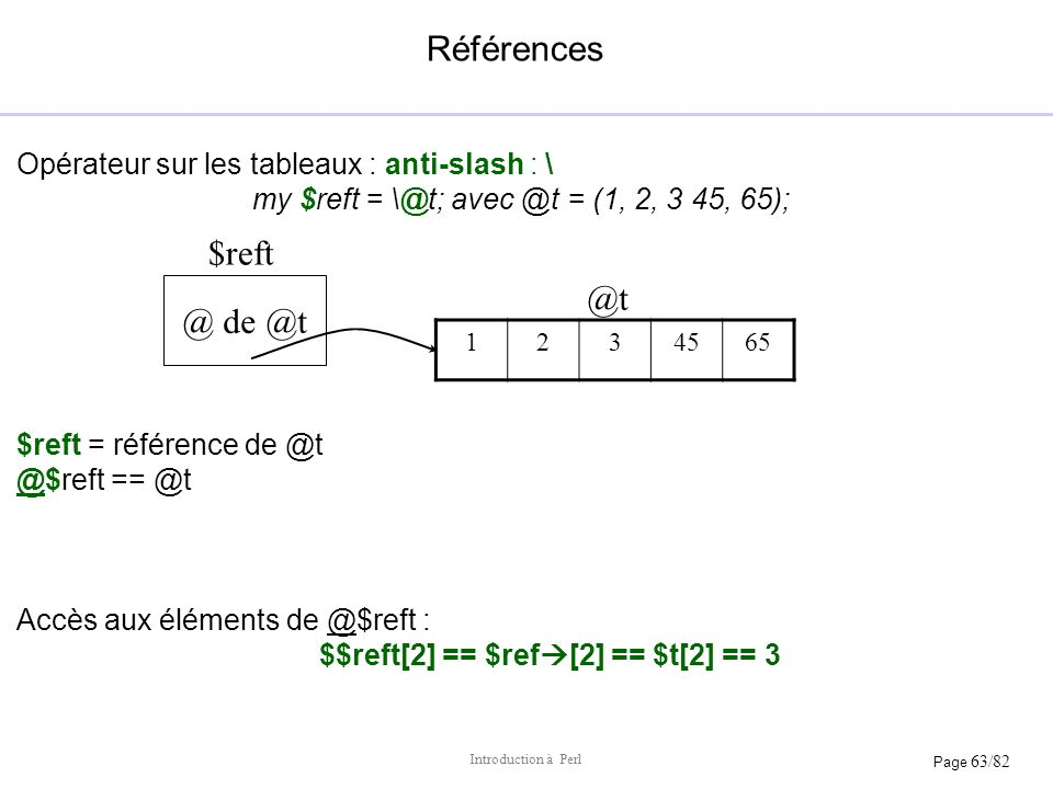 Page 63/82 Introduction à Perl Références Opérateur sur les tableaux : anti-slash : \ my $reft = \@t; avec @t = (1, 2, 3 45, 65); $reft = référence de