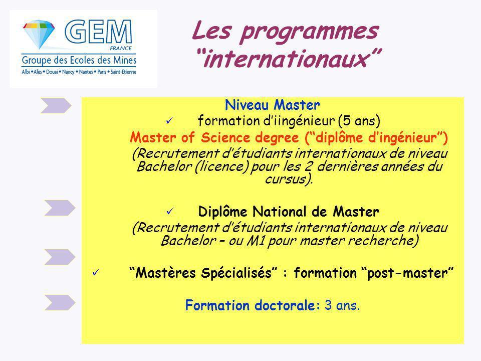 Niveau Master formation diingénieur (5 ans) Master of Science degree (diplôme dingénieur) (Recrutement détudiants internationaux de niveau Bachelor (licence) pour les 2 dernières années du cursus).