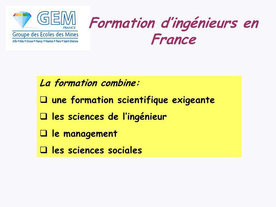 Formation dingénieurs en France La formation combine: une formation scientifique exigeante les sciences de lingénieur le management les sciences socia