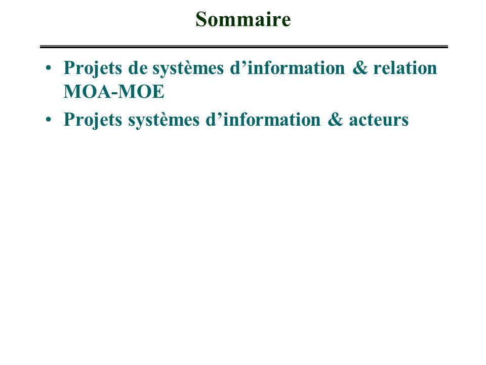 Sommaire Projets de systèmes dinformation & relation MOA-MOE Projets systèmes dinformation & acteurs