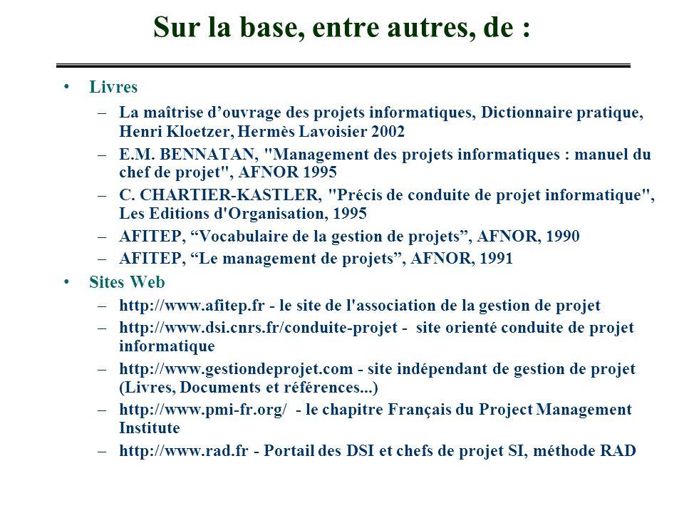 Sur la base, entre autres, de : Livres –La maîtrise douvrage des projets informatiques, Dictionnaire pratique, Henri Kloetzer, Hermès Lavoisier 2002 –