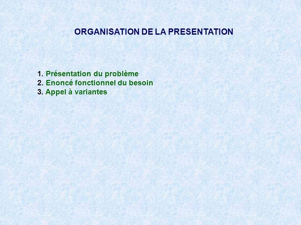 1. Présentation du problème 2. Enoncé fonctionnel du besoin 3. Appel à variantes ORGANISATION DE LA PRESENTATION
